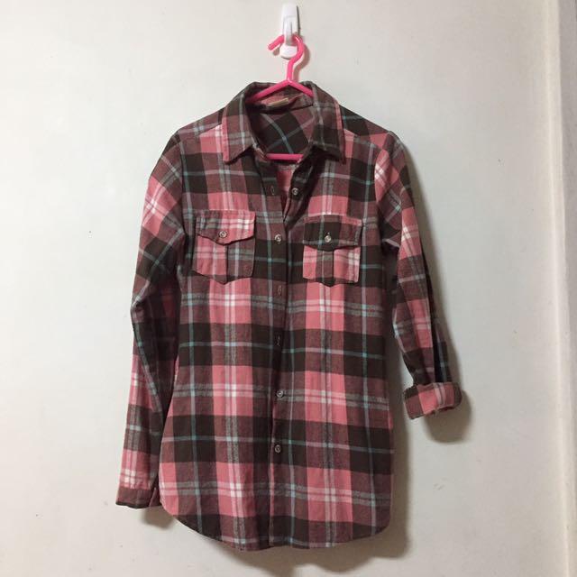 🎀法蘭絨粉紅格紋雙口袋襯衫