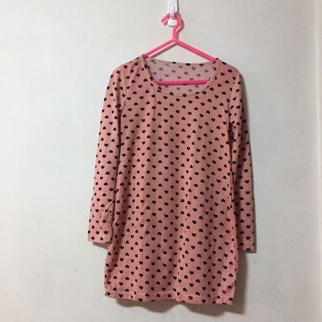 🎀粉紅愛心針織長版上衣