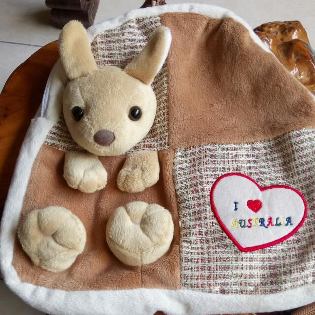 袋鼠絨毛兒童背包