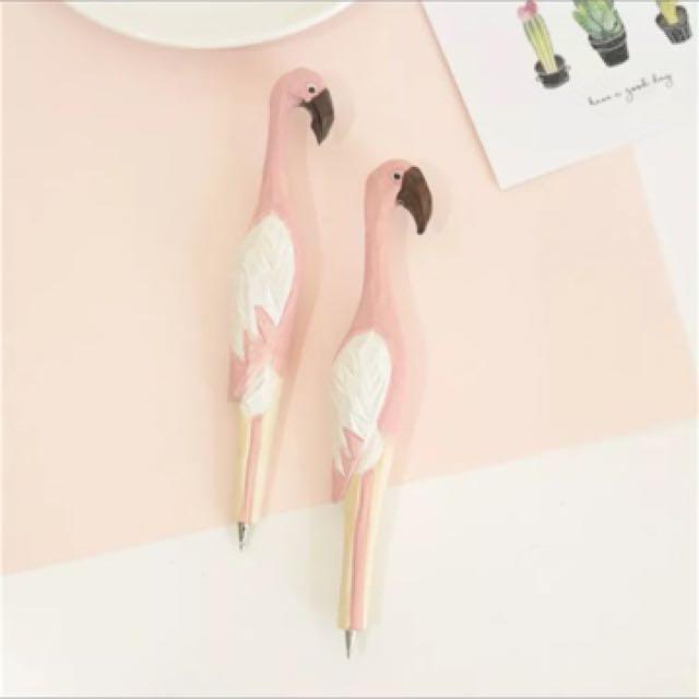 預購 火烈鳥木質雕刻圓珠筆粉色女動物創意原子筆