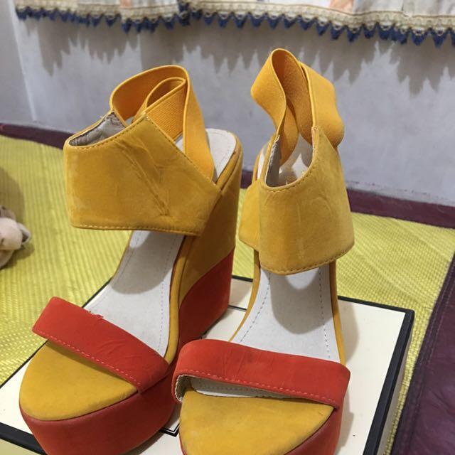 韓國代購 歐美風 絨布摩落哥風 厚底楔型鞋