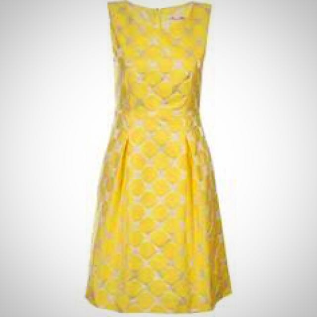 ALANNAH HILL Sz 8 1950's Style Yellow Spotted Dress
