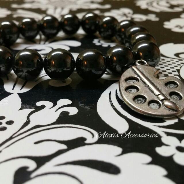 Arrust Bracelet -Titanium Magnetic Bracelet With Silver Painting Pendant