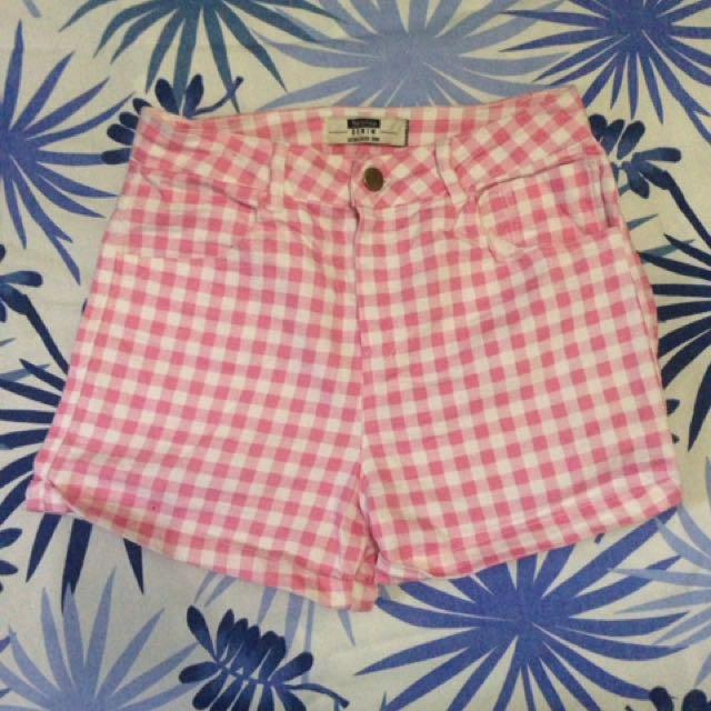 Bershka Pink High Waisted Shorts