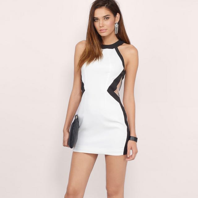 Black and White Cutout Bodycon Dress