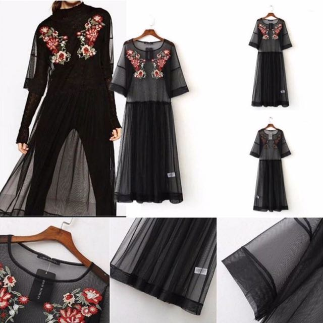 Black Mesh Flower Dress