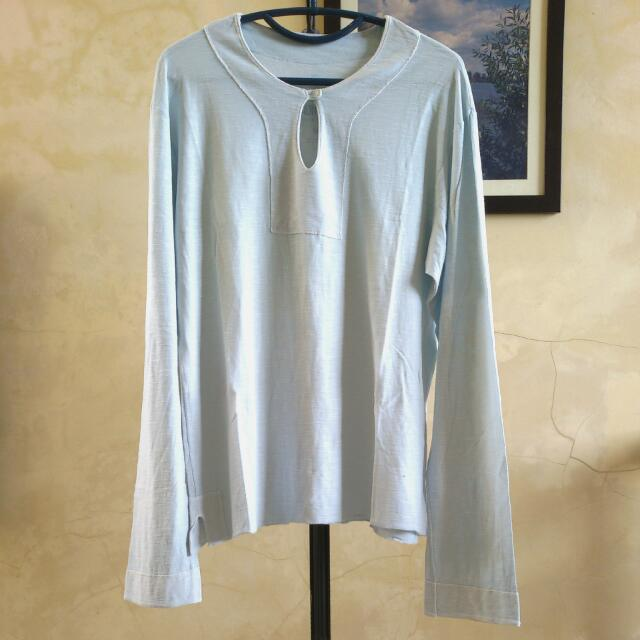 (Repriced) LIMITS Men's Pastel Blue Long-sleeved Shirt ➖ (Turun Harga) Baju Lengan Panjang LIMITS utk Pria Warna Biru Muda