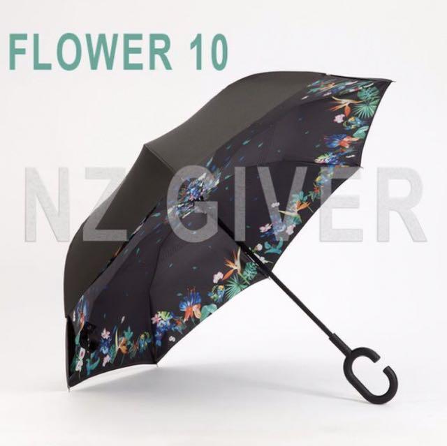 C Handle Reverse Umbrella- Flower 10