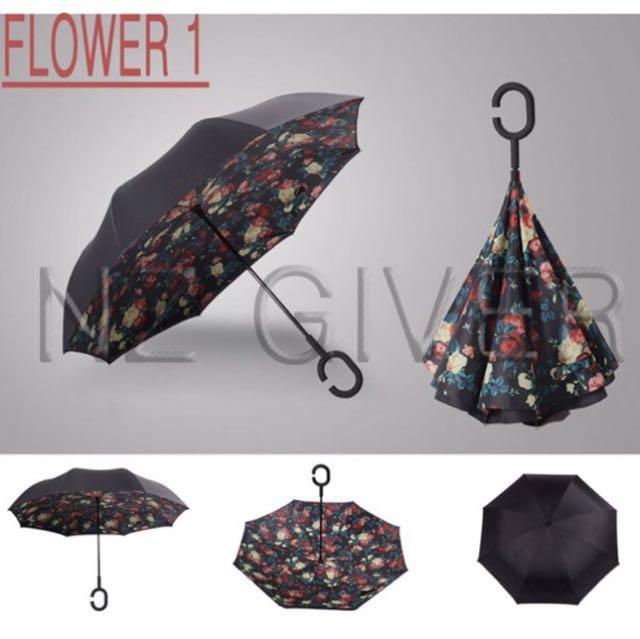 C Handle Reverse Umbrella- Flower 1