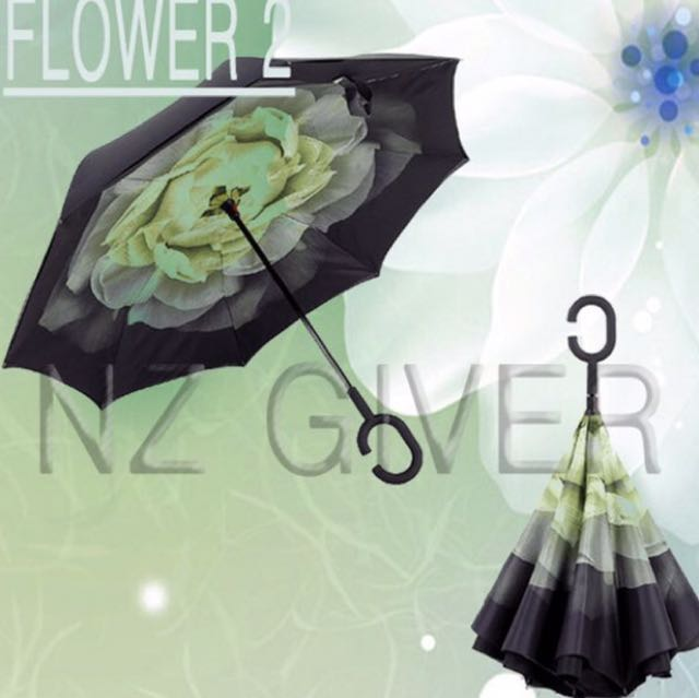 C Handle Reverse Umbrella- Flower 2