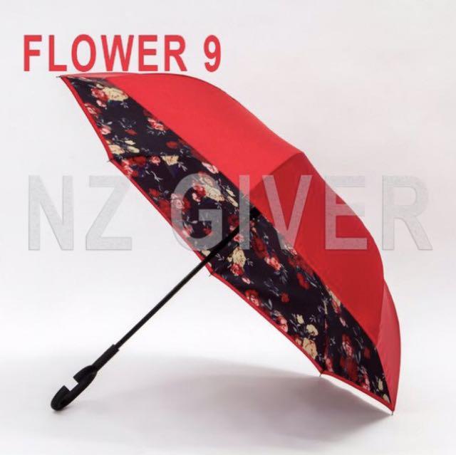 C Handle Reverse Umbrella- Flower 9