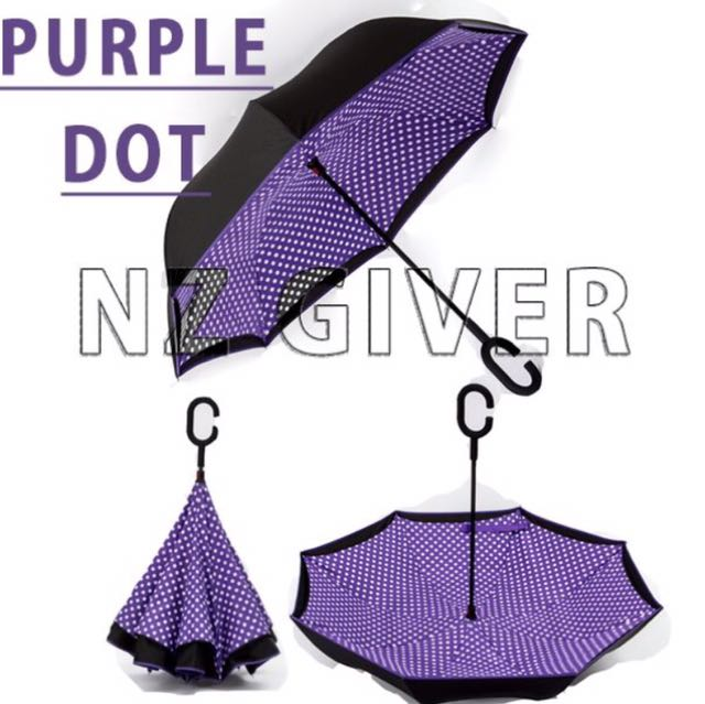 C Handle Reverse Umbrella- Purple+Dot