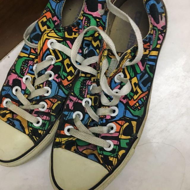 絕版塗鴉Converse帆布女鞋👟37號