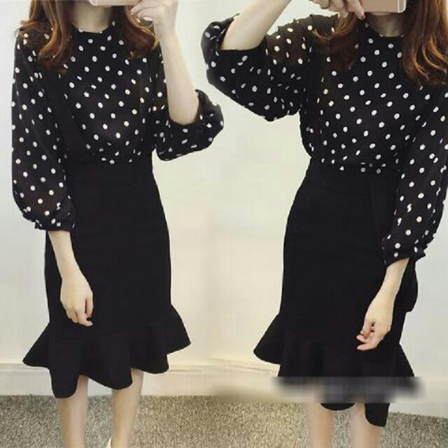 Elizabeth Set 2 in 1.. Atasan Plus Jumper Spandex Fit to L