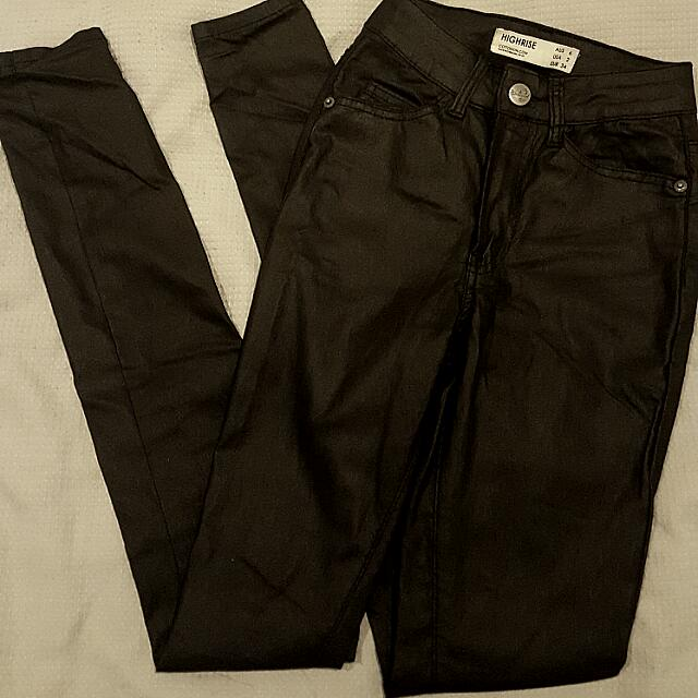 High Waisted Leather Look Pants / Jeans