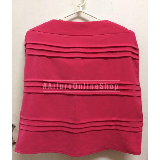 Hot Pink Horizontal Pleated Skirt