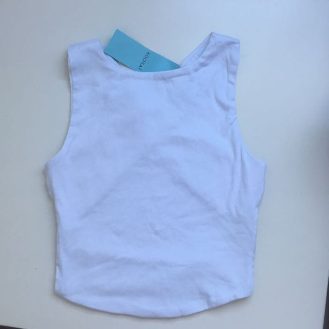 Kookai Cross Back Top (White Only)