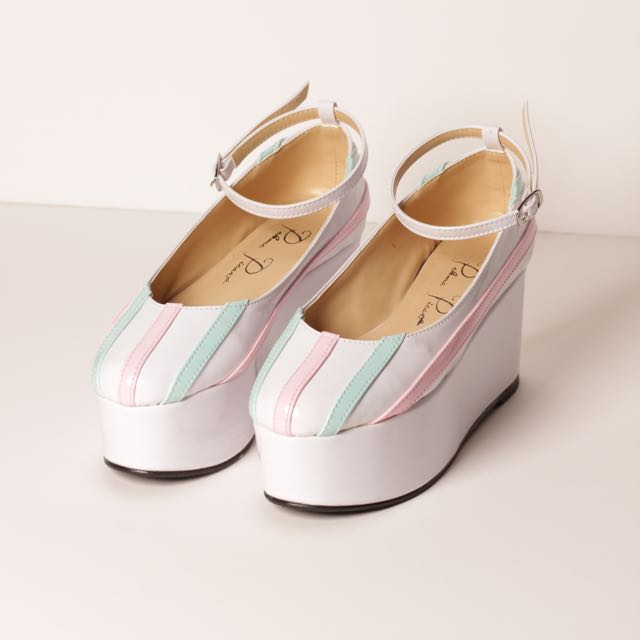Leatherette Platform Shoes (Pastel Stripes)