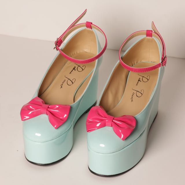 Leatherette Platforms (Pink Bow)
