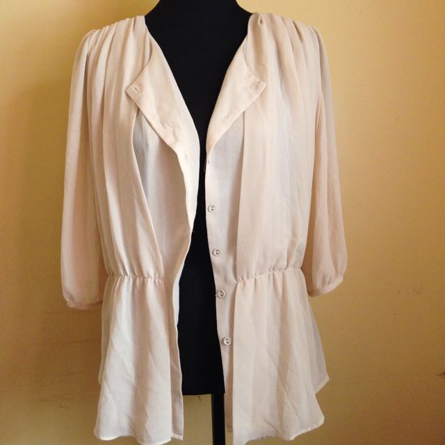 Light Nude Chiffon Cardigan