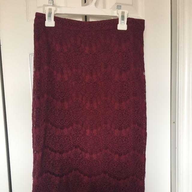 Maroon/raspberry Midi Skirt