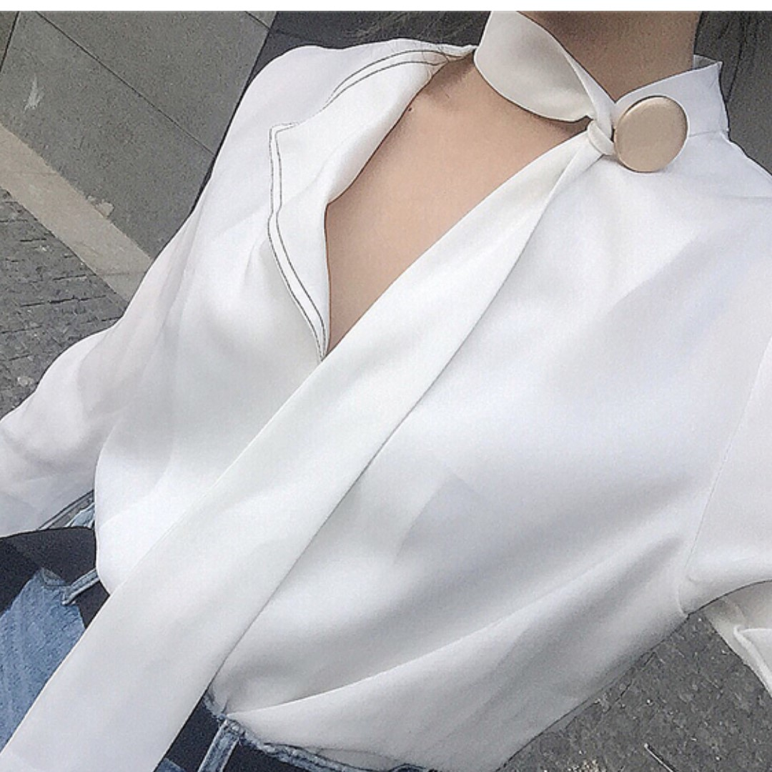 Miranda Chic Statement Neckline Top/ White