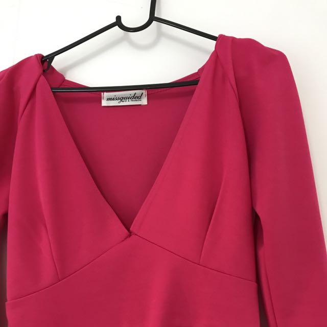Neon Pink Low Cut Dress