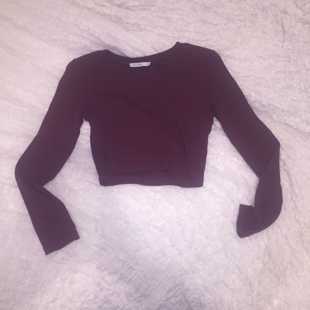 Pare Basic Long Sleeve Wine Crop Size 8
