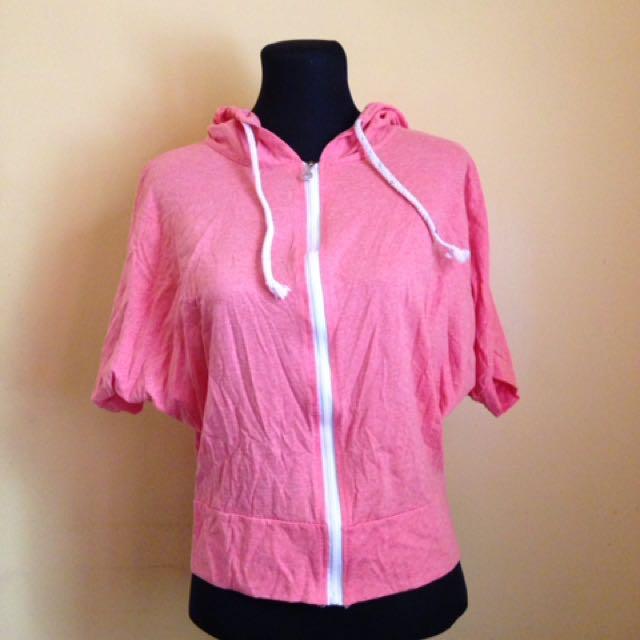 Pink Hoodie Zip Up Shirt