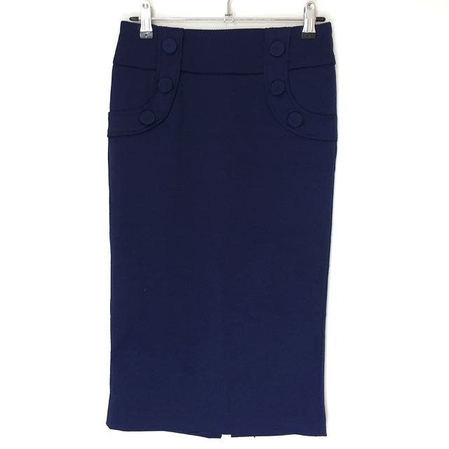 REVIEW Sz 6 Navy Pencil Skirt With Satin Lining