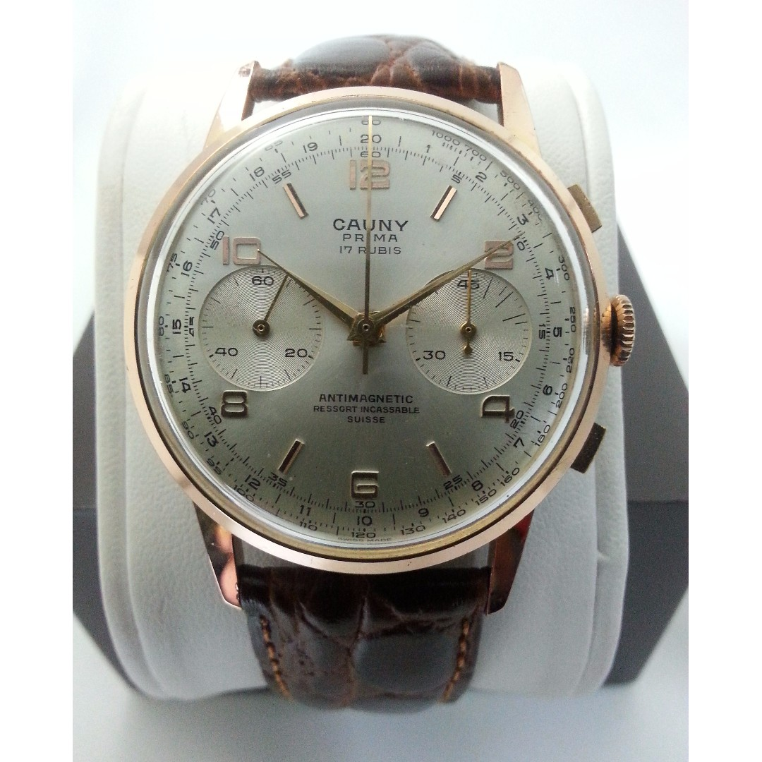 Rose Gold Color Cauny Prima Chronograph Wristwatch