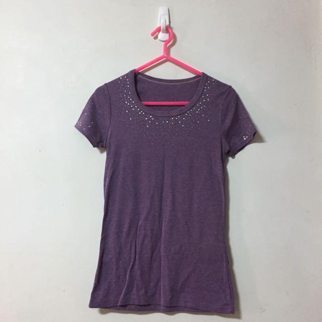 🎀紫色水鑽圓領T