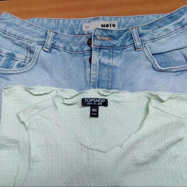 Topshop  High waist Short + Topshop Tops