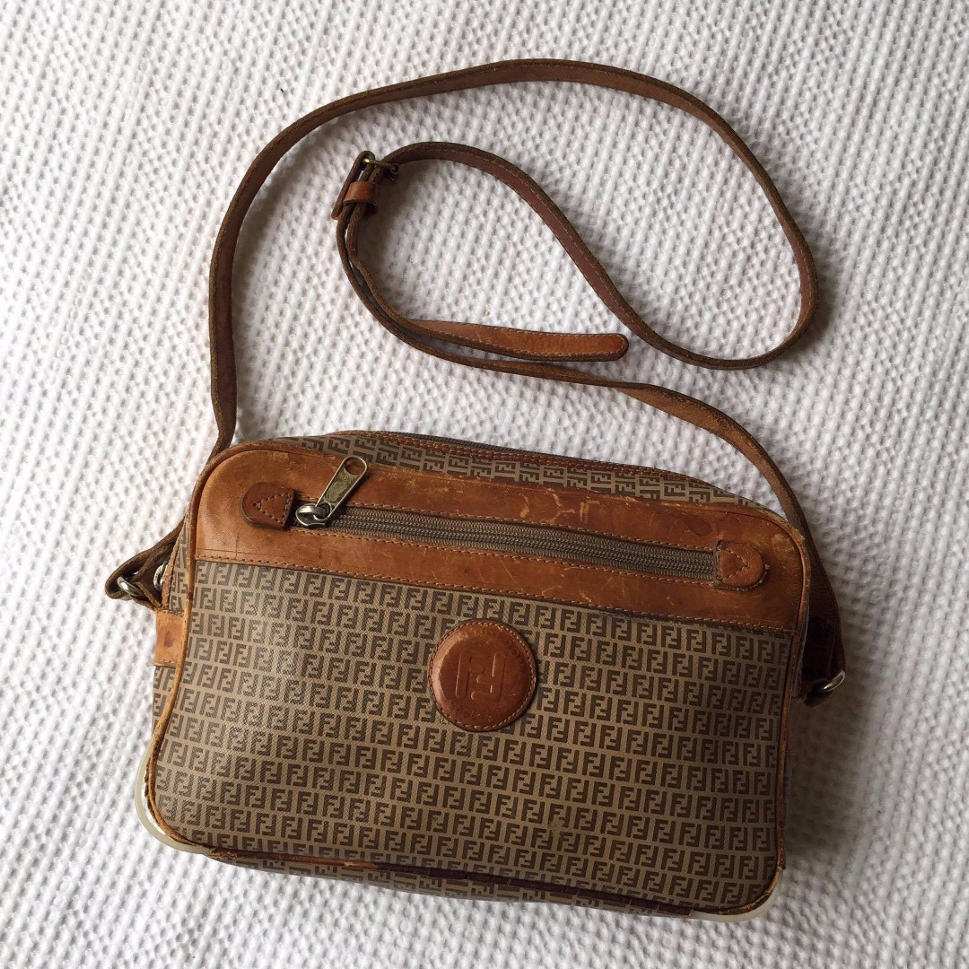 Vintage Fendi Monogram Leather Handbag