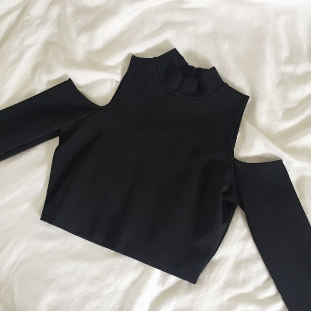 WITCHERY Cold Shoulder Long Sleeve Top