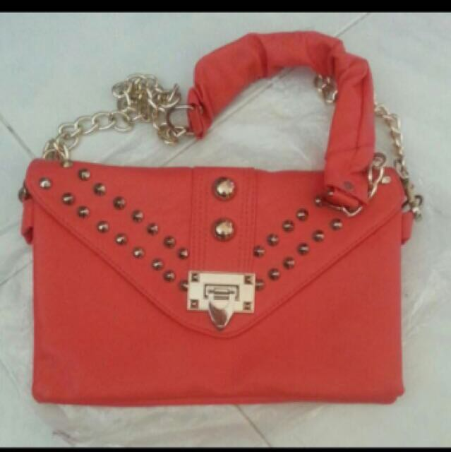 Zalora Watermelon Red Pink Studded Envelope Shoulder Sling Bag Clutch