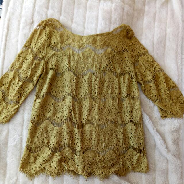 Zara Mustard Lace Top