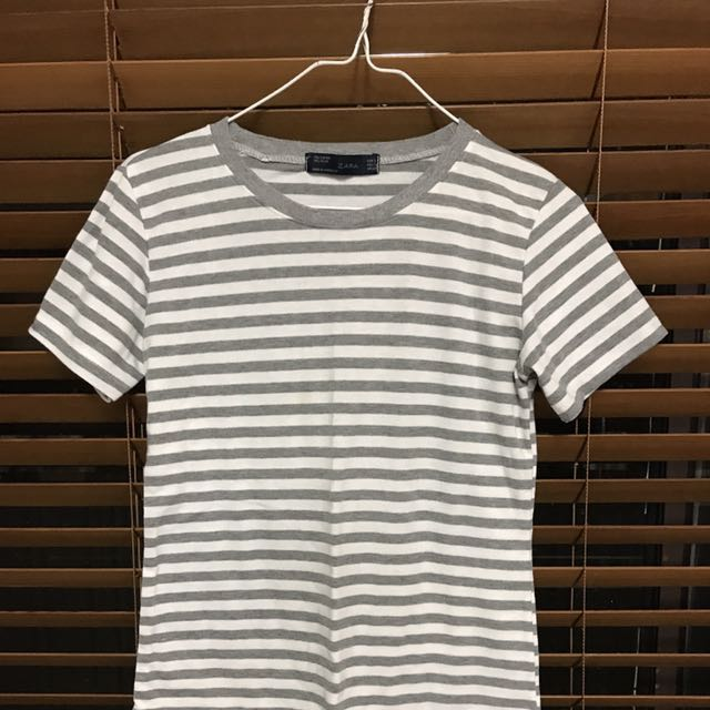 Zara Striped Tee In Grey