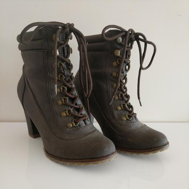 Zara TRF Brown/ Mauve Leather Boots