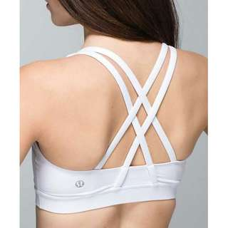 size 8 / lululemon energy bra / white