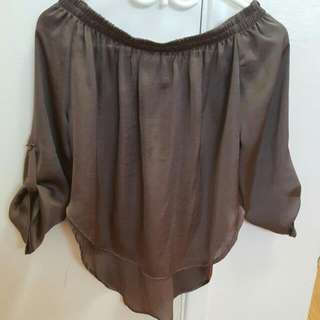 Size Small Mendocino Plum Off The Shoulder Shirt