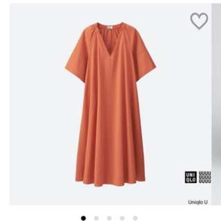Uniqlo U系列 泡泡紗洋裝 紅色 S號