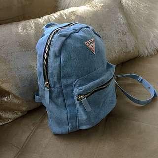 Guess Special Anniversary Light Wash Denim Jean Mini Backpack Purse NEW!