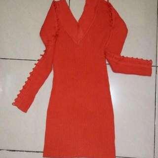 Orange Dress Rajut