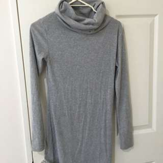 Turtle Neck Dress Grey