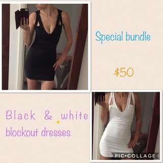 Block Black And White Bandage Body Con Bundle❤️