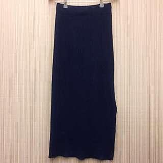 深藍直紋針織長裙