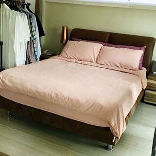 Dark Brown (Velvet) Bed Frame with 2 wooden side tables included. (Queen)