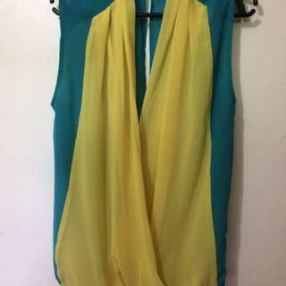 Yellow & Teal Low Back Top