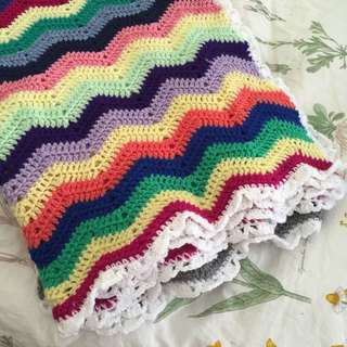 Brand New Rainbow Hand Knitted Large Blanket
